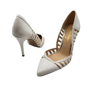 Jessica Simpson white Point toe Pumps heels 9.5